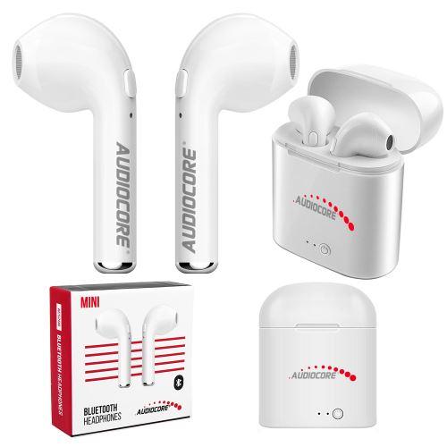 Moderní Bezdrátová dvojitá sluchátka do uší bluetooth + Audiocore AC515 mini bílá TWS 5.0 stanice