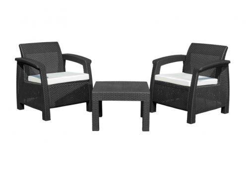 Zahradní nábytek G21 MOANA RELAX imitace ratanu, černý (2+1)