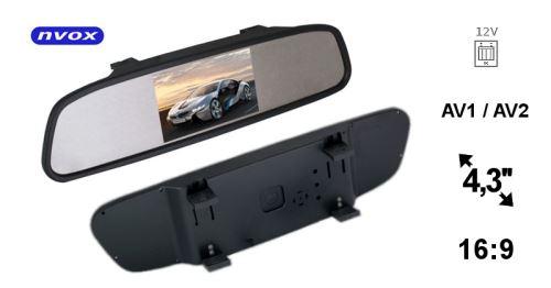 Monitor ve zpětném zrcátku NVOX NW430M 4,3 palce LCD AV 12V
