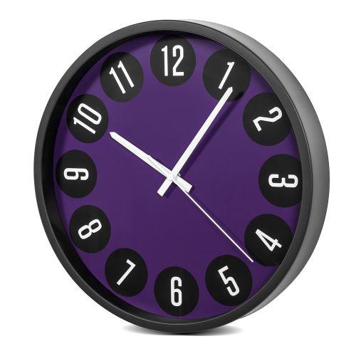 Nástěnné hodiny černé a fialové,  35cm