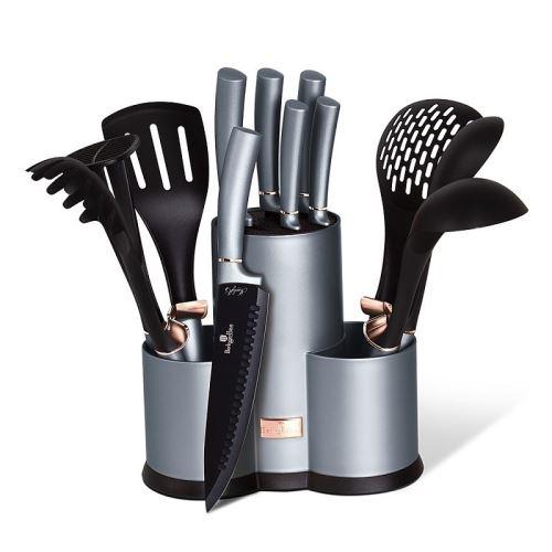 Sada nožů a kuchyňského náčiní ve stojanu 12 ks Moonlight Edition Berlingerhaus